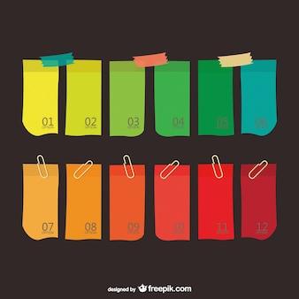 Etiquetas de papel de colores