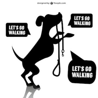 Vector perro con correa