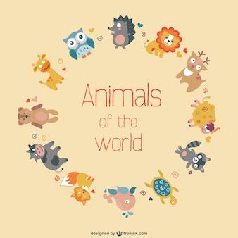 Vector plano de animales del mundo