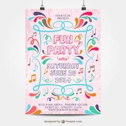Vector plantilla de cartel de fiesta con rótulo de colores