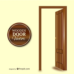 Vector puerta de madera