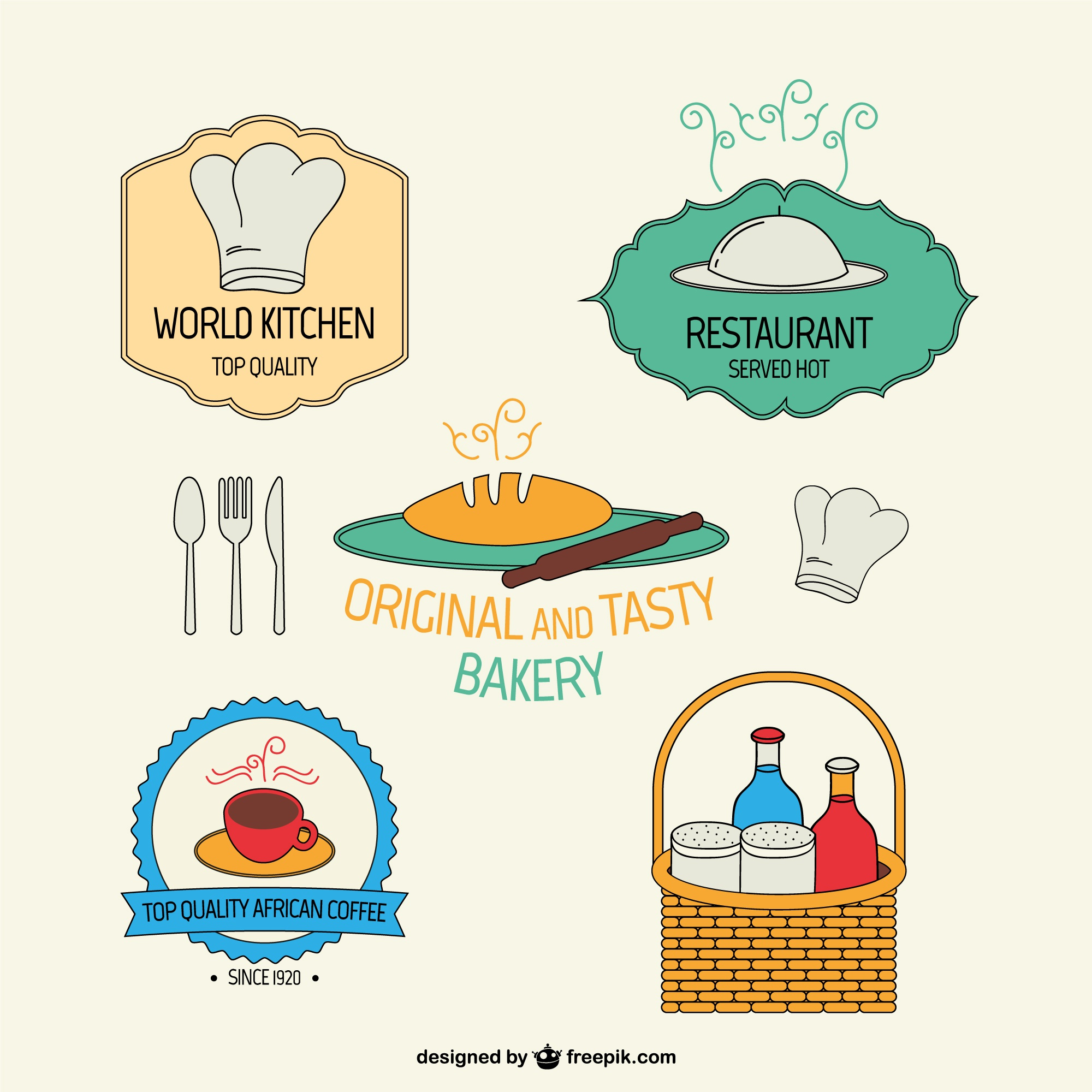 Pack de stickers de restaurantes