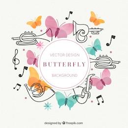 Vector saxofón con mariposas