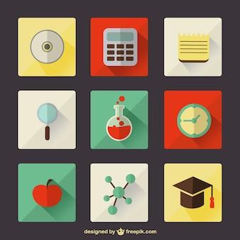 Iconos de educación escolar a color