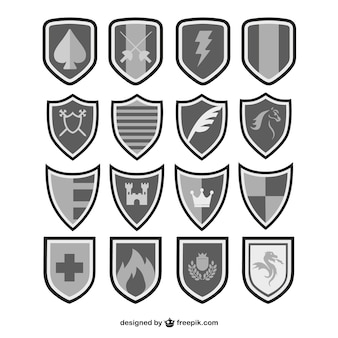 Vectores escudos en blanco y negro
