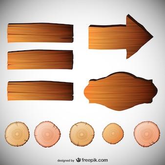 Conjunto de signos con textura de madera