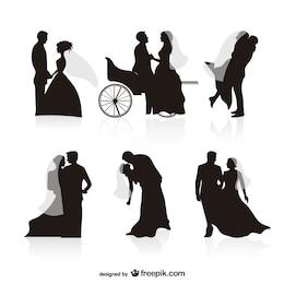 vector silueta de la boda