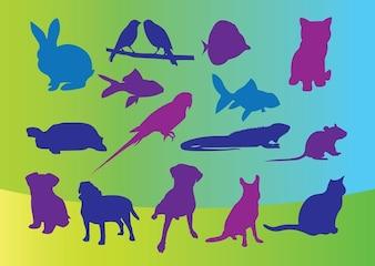 vector siluetas de animales domésticos
