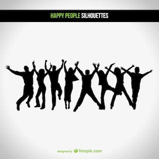 Vector siluetas de personas felices