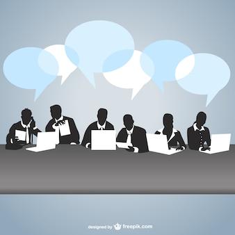 Vector siluetas en reunión de negocios