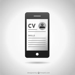 Vector smartphone con currículum vitae