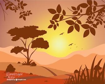 Vector de paisaje con puesta de sol