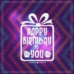 Vector tarjeta de cumpleaños con zig zag