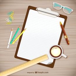 Vector tomando notas sobre el escritorio