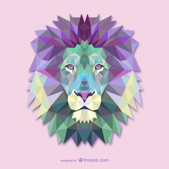 Vector poligonal de león