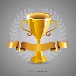 Vector trofeo de oro