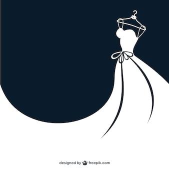 Vector vestido de boda en blanco y negro