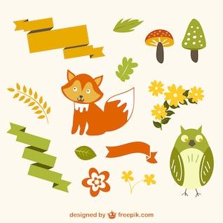 Vectores animales del bosque
