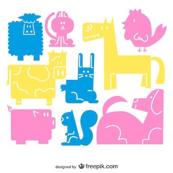Vectores de animales de colores