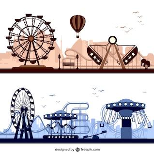 Vectores de fondo de parque de atracciones
