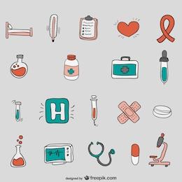 Vectores de hospital dibujados a mano