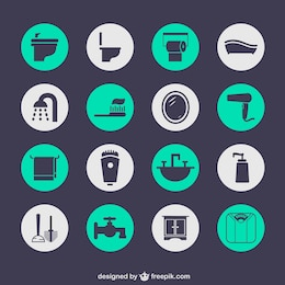Vectores de iconos de cuarto de baño
