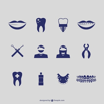 Vectores de iconos de dentista