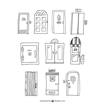 Vectores de puertas dibujadas a mano