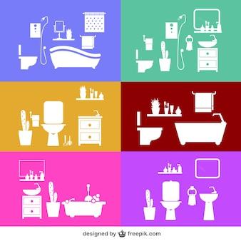 Vectores de siluetas de cuarto de baño