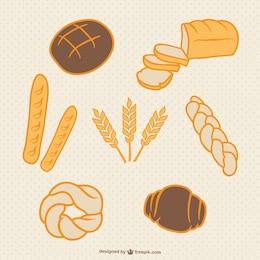 Vectores de trigo y pan