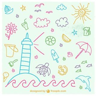 Vectores de verano dibujados a mano