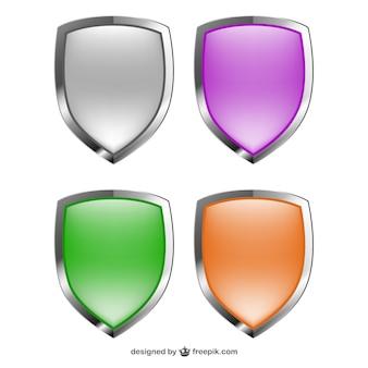 Vectores escudos de colores