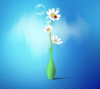 Vectores florero margarita flor del resorte fijan