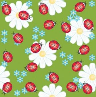 Vectores gratis flor de primavera lindo fondo margarita mariquita Beautifyl inteligente verde blanco rojo amarillo