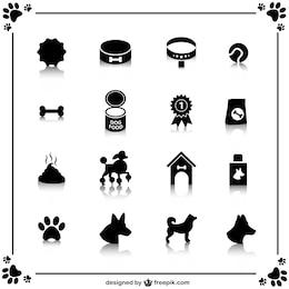 Vectores iconos de perros