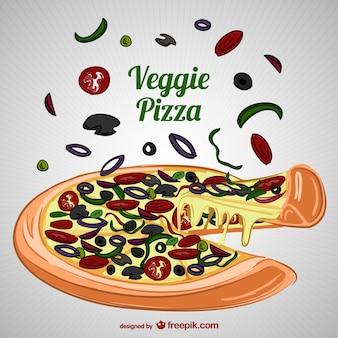 Vector de pizza vegetariana