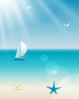 Velero flotando en el mar en verano
