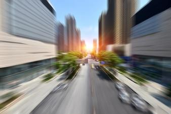 Velocidad de movimiento en la carretera urbana túnel de carretera