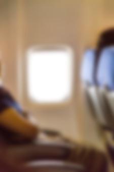 Ventana de avión borrosa