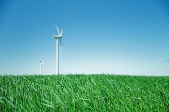 Ventilador eólico en un campo