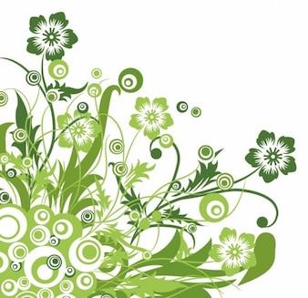verde, de diseño floral gráfico vectorial