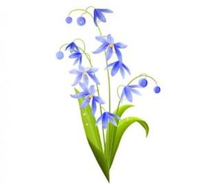 verde-azules flores de la primavera