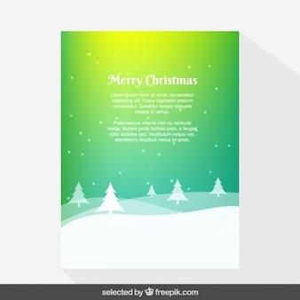 Verde degradado Tarjeta de Navidad cubierto de nieve