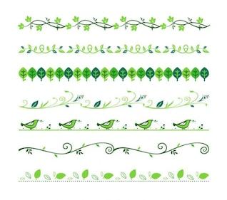 Verde divisores florales conjunto de vectores