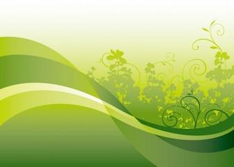 verde floral con fondo vector de onda