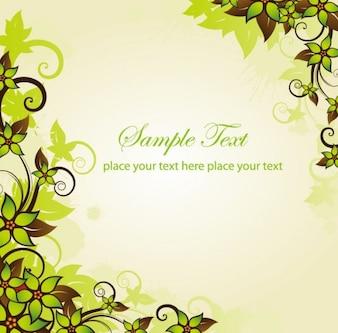 verde floral marco de gráficos vectoriales