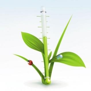 Verde termómetro vector