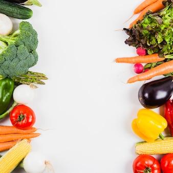 Verduras y espacio vertical en medio