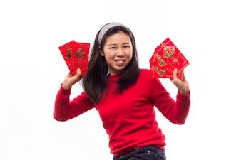 Vestido de la mujer china sonrisa lunar