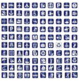 Viaje elegantes iconos simples símbolos paquete